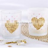 """Heart Of Gold"" Gold Glitter Frosted Glass Tea Light Candle Holder For Wedding Baby Shower Party Decoration"