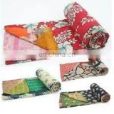 Vintage Reversible Kantha Sari Throw Indian Twin Size Kantha Blanket Sari Quilt / Home Textile / Quilt