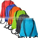 Eco friendly 420D polyester fabric Folding Cinch Backpack Bags with  Drawstring