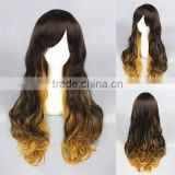 High Quality 65cm Medium Long Wave Dark Brown&Blonde Color Mixed Lolita Wig Synthetic Anime Wig Cosplay Hair Wig Party Wig
