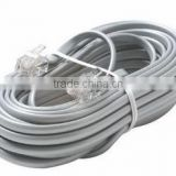 China hotsale 4core screened rj 11 telephone cable white color 0.4mm bare copper conductor high qulaity communication cable