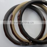leather and wood car steering wheel cover