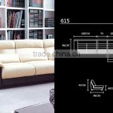 Modern sofa made in fisrt layer of cattle leather L Shaped Euro design modern sofa cum bed 618-3