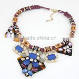 Indian Tribe Cotton Rope Statement Necklace Tortoise Color Acrylic Board Bib Necklace