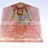 Orgonite Rose Quartz Pyramid With Flower Of Life Chakra Symbol Charged Crystal Point : Flower Of Life Product Manufacturer