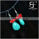 Retro Jewelry Dangling Tuiquoise Blue Teardrop water-drop Red Beads Drop Earrings