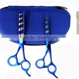 "Titanium Blue Color Barber Scissor & Thinning Scissor Set 6.5"" With Leather Case Packaging"