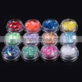 2016 12 colors hot sell nail tips decoration acrylic glitter shinny nail art shell paper