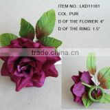 artificial handmade fabric burgundy rose flowers napkin ring