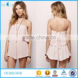 Wholesale summer adult onesie playsuit tube backless short sexy rompers