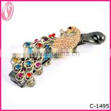 Beautiful Wedding Bridal Peacock Feather Animal Hair Clip With Jewelry