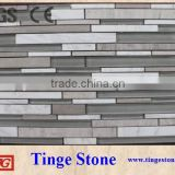 Blue glass crean marfil marbles mosaic strip tiles on sale