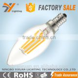 2016 New product 4W C37 crystal LED Filament bulb small led candle light CRI 80 for indoor