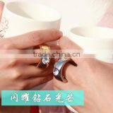 creative hot-selling diamond ring handle lovers couple ceramic coffee mug with lid and spoon