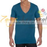 Zegaapparel Plain Black Color 60% Cotton 40% Polyester Tagless Relaxed Fit Casual V-neck T Shirts for Men