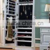 Classic Wooden Houseware Mirrored Jewelry Cabinet Floor Standing Chinese Furniture with Resin Flower and Special Design on Top