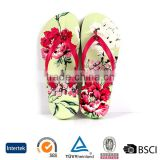 2016 latest vigorous green flower sublimation slippers girl cheap plastic nude flip flops design                                                                         Quality Choice
