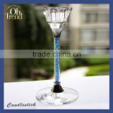 Wholesale Crystal Glass Candle Stick Tall Candle Holders/ Candlestick With Beaded Stem for Weddings