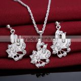 Rhinestone Zinc Alloy Jewelry Set earring necklace Flower platinum color plated rope chain with rhinestone 21x23mm