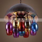 Contemporary multi color glass bottle pendant lamp creative pendant light for home decor for bar