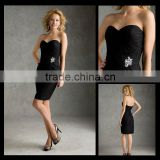 Hot sale New Sweetheart Black Lace Floor Length Button Mini/Short Bridesmaid Dresses bm00015