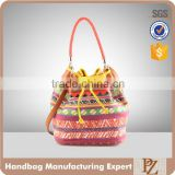 3412 - 2016 Hot Popular Printing Canvas Cross Body Shoulder Bag Fashion Girl Woven Bucket Bag