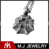 Fashion Stainless Steel Shield Cross Mens Necklace Pendant High Quality Square Chain Necklace