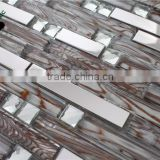SMJ02 Foshan high quality strip crystal glass mosaic wall decoration mosaic border tiles