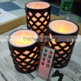 led flameless candles led carved flameless flickering real wax candles with remote control LED remote wax candles