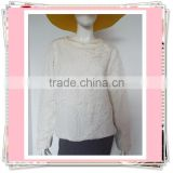 Ladies' jacquard fabric O-neck sweatshirt