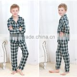 Guaranteed Quality Turn-dowwn Collar 100% Cotton Pajama Long Sleeve Winter Boys Sleepwear Set Latest Woven Gingham Homewear Set