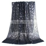 Cotton Polyester Blend Scarves & Wraps Rectangle Silver Black Feather Fashion Scarf 2017