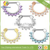 High quality colorful fashion diamond non piercing fake nose ring