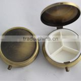 Bronze Tone Round Pill Box Medicine Organizer- 3 Tablet Sec Container Collectable