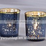 Attractive Romantic Love Blue Mercury Glass Votive Candle Holder For Wedding Baby Shower Party Decoration