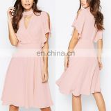 Alibaba China Factory Cut Out Cross Front Fluted Sleeve Elegant Pink Midi Cocktail Dress