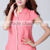 High quality 2015 China Wholesale chiffon stand collar new design woman blouse for summer