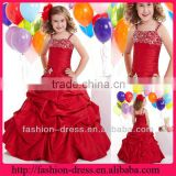 Beautiful Girl Party Dress Spaghetti Strap Ruffle Taffeta Red Beaded Flower Girl Dresses