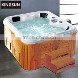 Wooden Frame Acrylic Big Size Swim Pool Freestanding Square wood fired Hot Bath Tub