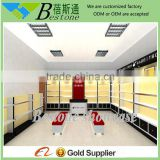 hotsale wooden shoe wall display cabinet rack fittings and fixtures design for retail interior store