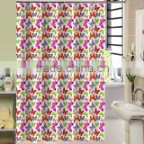 2016 New Design butterfly printed 100% polyester shower curtain for hotel, family, waterproof bath curtain
