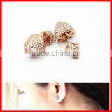 high quality rose gold micro pave cz double sided bullet golden earring designs for women
