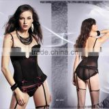 Hot sex lady's transparent dot pattern lingerie corselet with garter belt shapers 1033