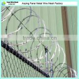 Hot dip galvanized cyclone wire fence with razor wire top