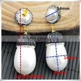LFD-04E New Fashion 24k Gold Druzy Shell Pearl Pave Rhinestone Stud Earring / Drop Earrings Jewelry Finding