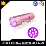 Waterproof 365nm led purple light uv flashlight