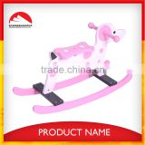 pink cow design wood baby rocking horse ,rocking chair