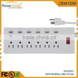 2015 hot sales US Type A/B 6 AC power outlet + 6 USB socket Strip with Surge Protector 120V 16A with UL FCC