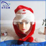 lovely stuffed Santa red White hat plush with logo embroidered fur hats