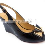 black hot sell new model fashion design women ladies girls dress shoes wedge heel